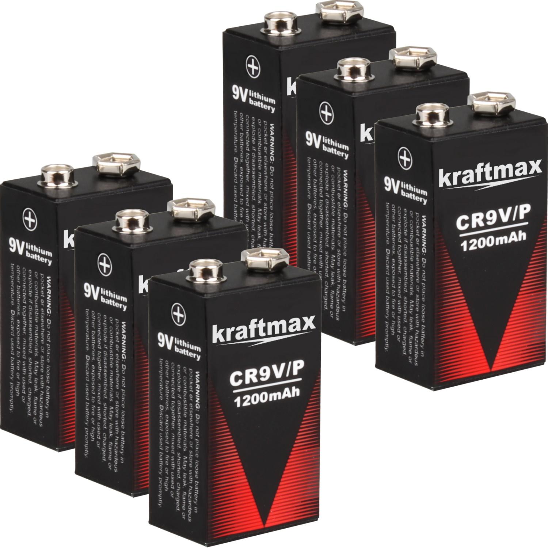 6x 9v lithium rauchmelder 10 jahres block batterien mit 1200 mah von kraftmax ebay. Black Bedroom Furniture Sets. Home Design Ideas